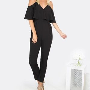 SHEIN cold shoulder flare black jumpsuit